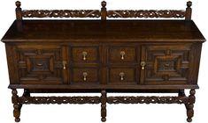 Jacobean Antique Sideboard w carved rail. Long buffet in English oak.