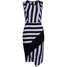 Monochrome Stripe Print Asymmetric Bodycon Dress ($17) ❤ liked on Polyvore featuring dresses, colorblock bodycon dress, asymmetrical dresses, color block dress, blue striped dress and striped dress