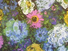 60'S WILD FLOWER vintage cotton fabric