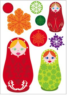 Bosco Bear - Russian Dolls. Bright, modern colours and retro patterns. 6 sheets of wall stickers 70$