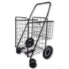 SCF Black Double Basket Rolling Storage Folding Utility Cart Shopping Carrier (Black)