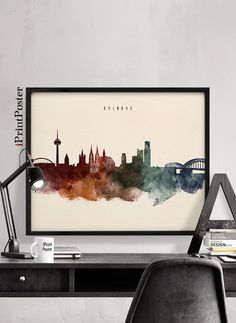 Cologne art print Watercolour poster Köln skyline by iPrintPoster