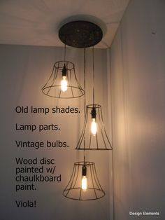 a great way to use old lamp shade skeletons. Write messages on the chalkboard disc...