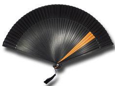 Éventail japonais bambou noir et orange