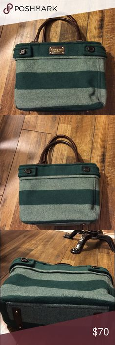 """Kate Spade Beantown Stripe Quinn Tote Pre-owned double-jacquard wool enriched with pea coat style buttons   Shoulder drop 6.5""""   W 11.5"""" X D 4.5"""" X H 9.25""""   backwall zip pocket   Two slip pockets   Center zip divider   kate spade Bags Totes"""
