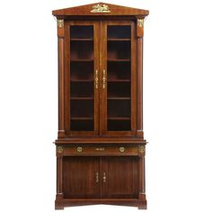 19th Century French Empire Mahogany Bookcase Cabinet | From a unique collection of antique and modern cabinets at https://www.1stdibs.com/furniture/storage-case-pieces/cabinets/