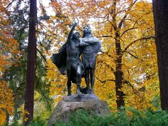 """""""Coming of the White Man"""" bronze sculpture by American artist, Hermon Atkins MacNeil gifted to the City of Portland in 1904 by former mayor David P. Thompson and installed the following year, depicts two Native American men, including Chief Multnomah, looking towards the Columbia River upon the arrival of Lewis and Clark."""