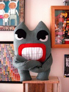 Angry Monster  Stuffed Toys Plush Softie Plushie by cronopia6, $24.00
