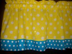 Yellow Turquoise Polka Dot minion pokemon spongebob fabric curtain Valance #Handmade