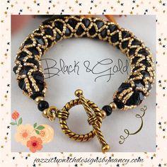 Elegant black Swarovski Crystal Gold net rope bracelet