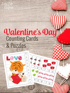 Get counting with these lovely Valentines day counting cards and puzzles, my daughter loves placing pom poms on the answers