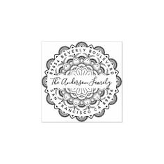 Shop Immortality Mandala Typography Return Address Rubber Stamp created by invintage. Personalize it with photos & text or purchase as is! Self Inking Address Stamp, Wood Stamp, Gift Labels, Doily Patterns, Cards Diy, Return Address, Address Labels, Wooden Handles, Family Gifts