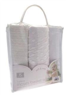 Moses-basket-bedding-3-pce-set-fitted-sheet-cellular-blanket-WHITE