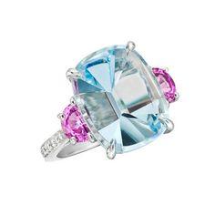 Paolo Costagli Mirror-Cut Aquamarine & Pink Sapphire Ring