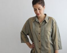 vintage striped shirt grunge oversized shirt by PaintYourWagonShop