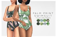 PALM PRINT SWIMSUIT RECOLORS // DOWNLOAD Alas,... : champagne and disco
