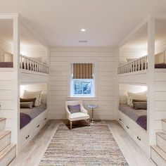 Best Bunk Beds for Kids And Teens with Storage Design Ideas This bunk bedroom with character grade white oak floors make for a perfect night in House Design, Coastal Interiors, Bunk Bed Rooms, Luxury Homes, House, Home, Bunk Beds Built In, White Oak Floors, Bedroom Design