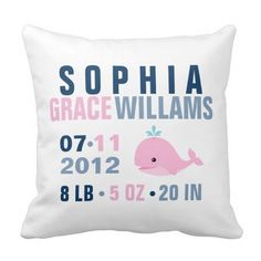 Customized birth stats pillow with whale in pink and blue nautical theme