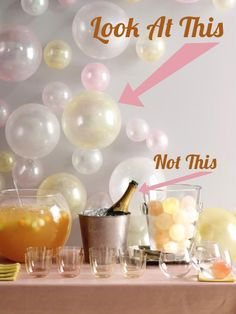 I like the look of these pearl and champagne colored balloons on the walls for a party, maybe for New Years Eve