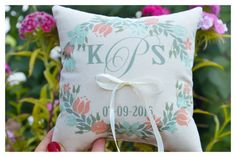 floral wreath ring pillow Personalized wedding pillow by Tulito