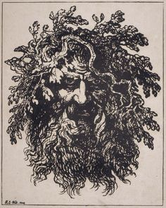 Head of a Bearded Man Wreathed with Oak Branches