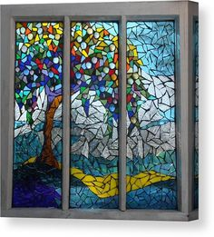 Mosaic Glass Art - Mosaic Stained Glass - Summers Colors by Catherine Van Der Woerd Stained Glass Crafts, Faux Stained Glass, Stained Glass Designs, Stained Glass Panels, Stained Glass Patterns, Fused Glass, Broken Glass Crafts, Blown Glass, Mosaic Wall Art