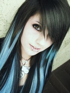 Black-and-blue-hair color