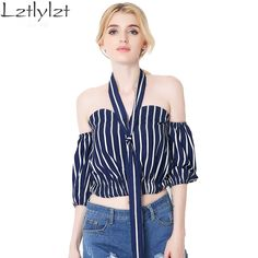 Elegant black striped chiffon blouse shirt Bow summer style girls halter tops Sexy off shoulder crop top white blusas