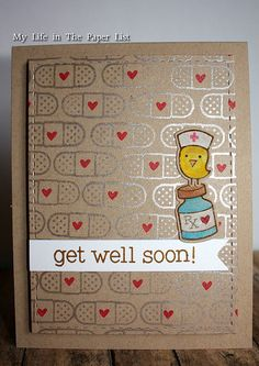 """Get Well Soon card """"Get Crafty with Kraft."""" Challenge Simon Says Stamp 