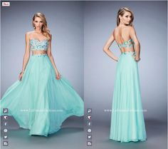 La Femme Prom - 22732 two piece prom dress - mint prom dress - homecoming dress - formal dress - pageant dress - sweetheart neckline - strapless - open back - floral lace applique