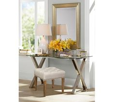 Ava Metal Desk Pottery Barn For The Bedroom Gl Top Nickel Finish