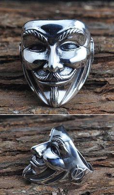 Men's Sterling Silver Guy Fawke Mask Wrap Ring