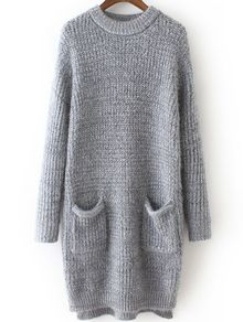 Dip Hem Grey Sweater Dress With Pockets