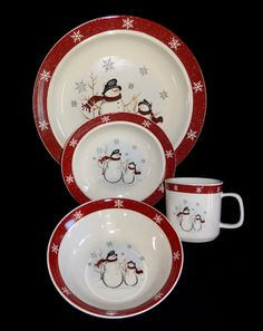 Royal Seasons Stoneware in cute Snowman theme, microwave and dishwasher safe.  Perfect for the holidays!  Service for 8.
