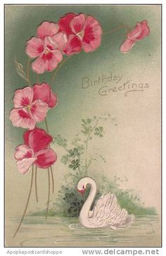 Vintage, Floral and Swan, Greetings for a Birthday card or postcard~