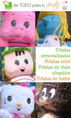 Piñatas personalizadas diseñadas bajo pedido para que te queden LINDAS :)    Trabajamos piñatas tradicionales, piñatas mini para centro de mesa, piñatas plegables de viaje que te caben en la maleta y tambien piñatas de liston o pitas para los mas pequeños    http://www.facebook.com/sieteinvitaciones.guatemala