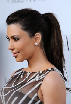 Kim Kardashian Slicked back into a tight tail