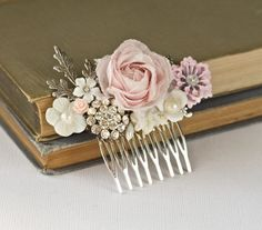 Bridal Hair Comb – Shabby Chic Rose Hair Piece, Silver Vintage Bridal Hair Accessories, Romantic Floral Hair Comb Collage, Wedding Hair Comb - All About Hair Comb Wedding, Wedding Hair Pieces, Vintage Bridal Hair, Deco Floral, Floral Design, Rose Hair, Floral Hair, Hair Ornaments, Wedding Hair Accessories