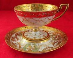 VINTAGE NIPPON HAND PAINTED JEWELED PEDESTAL CUP & SAUCER GOLD GILT MORIAGE V