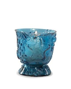 Sea Blue Pressed Glass Shells Starfish Votive Candle Holder Country Beach Home Décor - Set of 2
