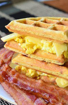 Waffle Breakfast Sandwich with Savory Bacon Waffles.