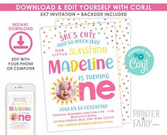 Little Sunshine First Birthday Invitation with Photo, EDITABLE, Our Little Sunshine first birthday, EDIT YOURSELF, Instant Download Sunshine Birthday Parties, First Birthday Invitations, Digital Invitations, Save Yourself, First Birthdays, Your Design, Party, Fun, Etsy