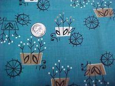 "Vintage Antique Cotton Quilt Doll Fabric Print 1930s Remnant TEAL 16x28""  Floral"