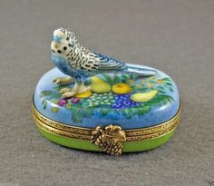 Budgie on fruit Limoges trinket box. eBay