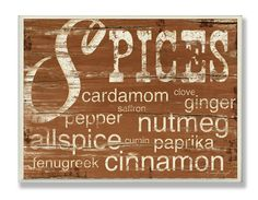 Stupell Home Décor Spices And Words Brown Kitchen Wall Plaque, 10 x 0.5 x 15, Proudly Made in USA * Check out the image by visiting the link. (This is an affiliate link and I receive a commission for the sales)