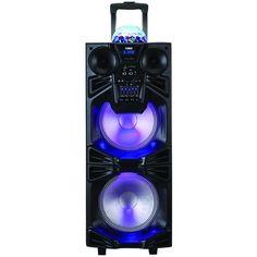 "NAXA NDS-1050 Dual 10"""" Portable Bluetooth(R) DJ/PA Speaker Stack with Disco Dome Light"