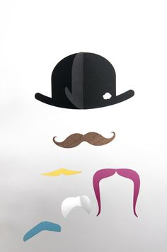 Mr. Moustache baby-mobile. Bright colours, contrasts and different materials stimulate your childs senses.