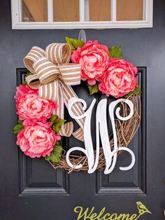 Spring Wreath, Summer Wreath, Monogram Wreath Rustic Wreath, Front Door Wreath, Peony Wreath, Distressed Monogram, Shabby Chic Wreath, Decor