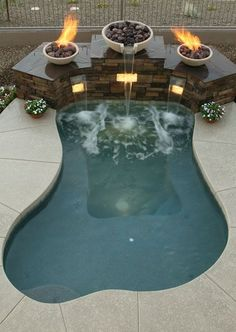 small round inground spa with waterfall - Google Search