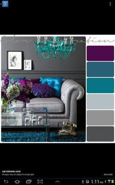 Grey, purple and teal color inspiration. Teal Rooms, Teal Living Rooms, Purple Bedrooms, Bedroom Colors, Living Room Designs, Teal Color Schemes, House Color Schemes, Living Room Color Schemes, Salons Violet